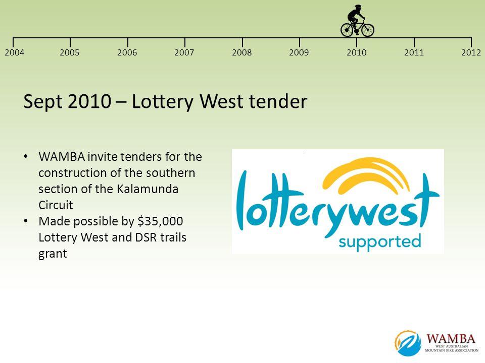 Sept 2010 – Lottery West tender