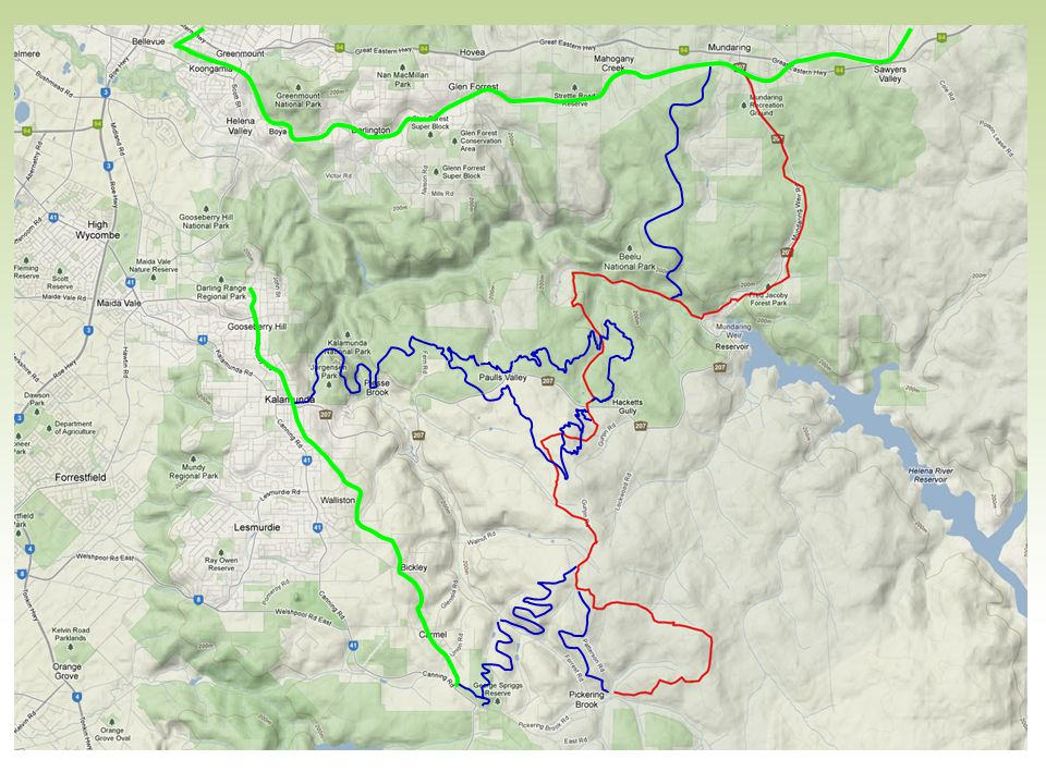 And beyond that: KC in blue in the middle. Munda Biddi in red. Heritage rail trail and Kalamunda Rail trail in Green.