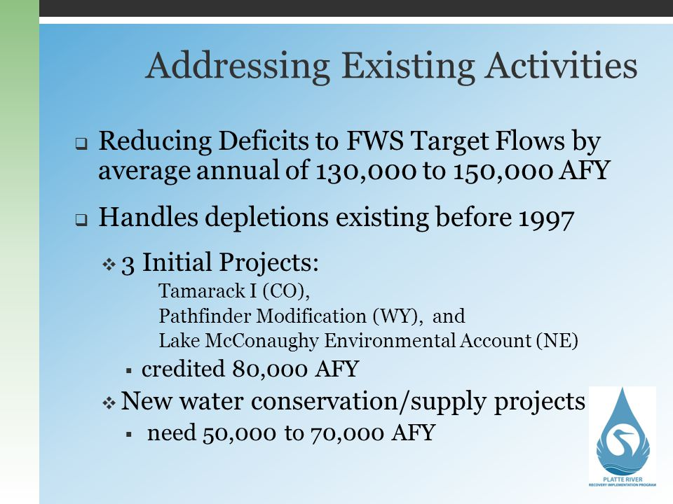 Addressing Existing Activities