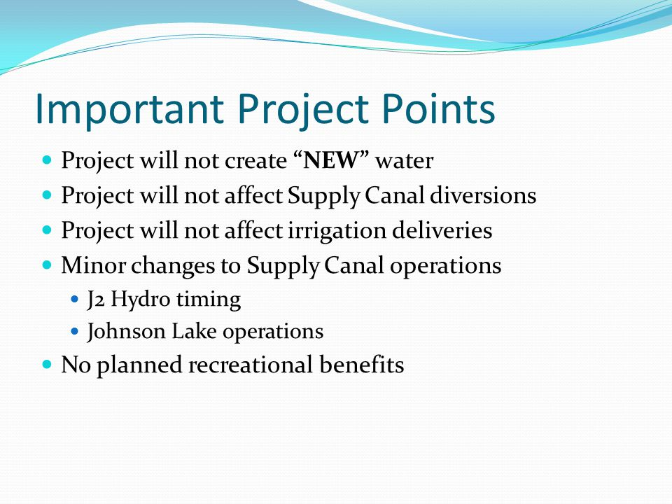 Important Project Points