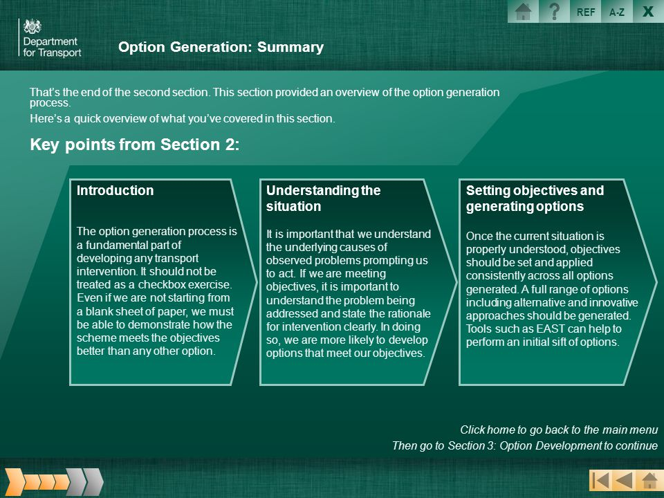 Option Generation: Summary