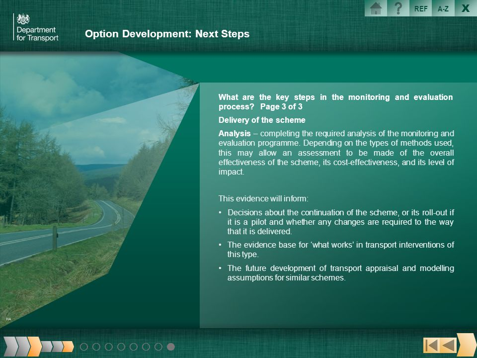 Option Development: Next Steps