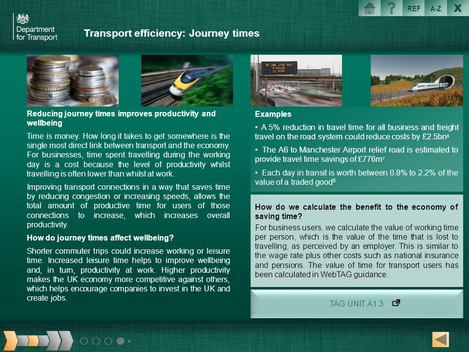 Transport efficiency: Journey times