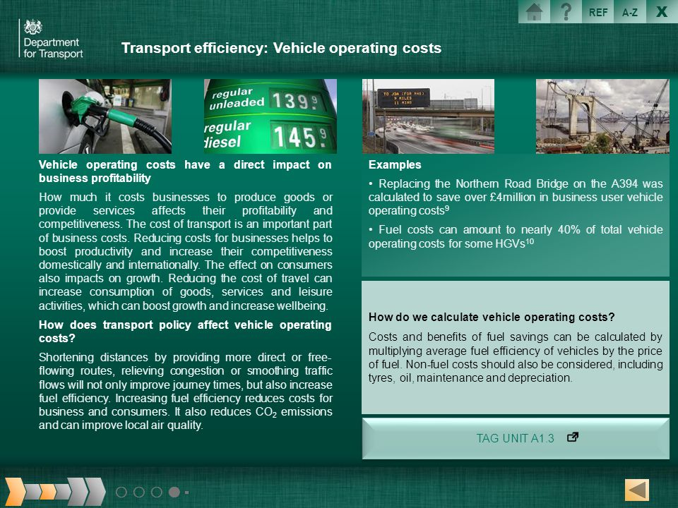 Transport efficiency: Vehicle operating costs