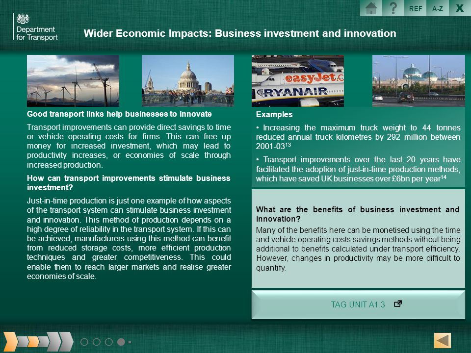Wider Economic Impacts: Business investment and innovation