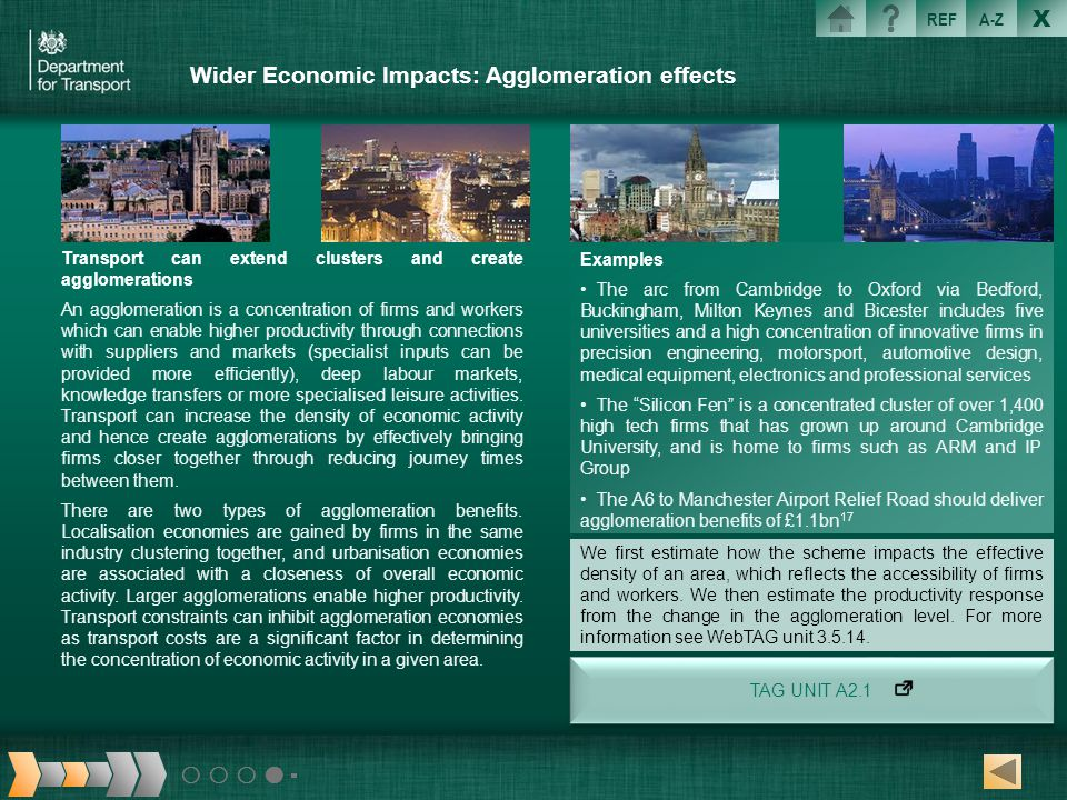 Wider Economic Impacts: Agglomeration effects