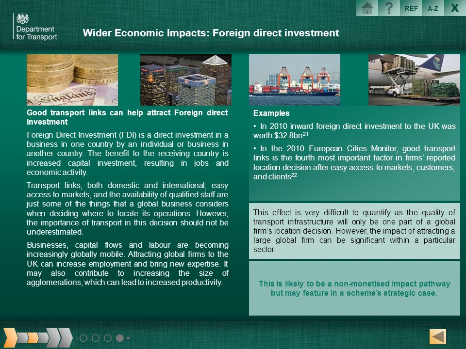 Wider Economic Impacts: Foreign direct investment