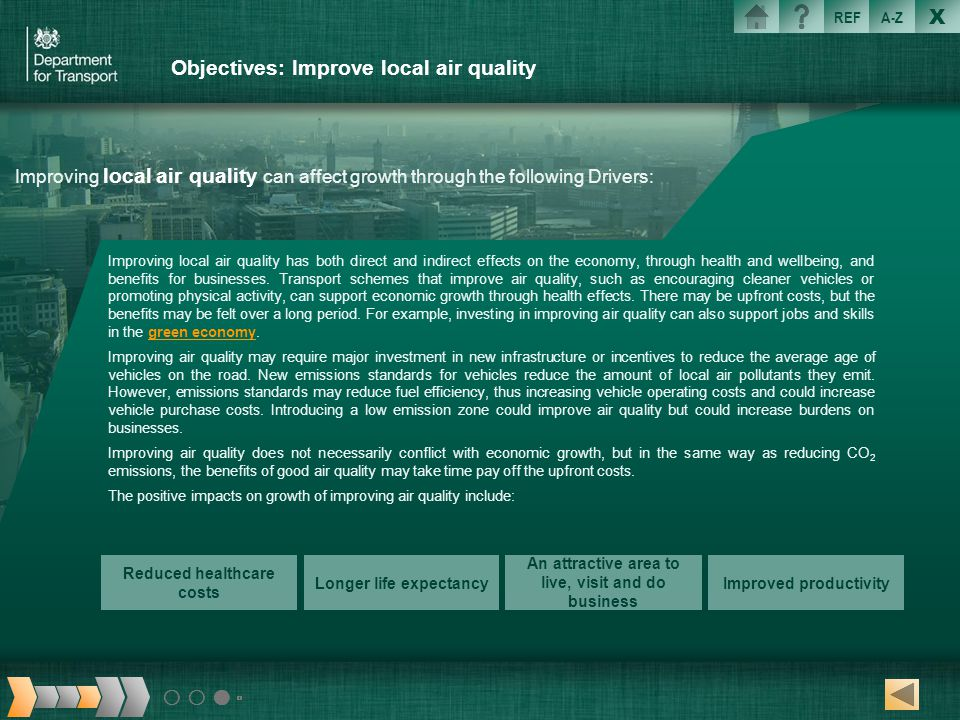 Objectives: Improve local air quality