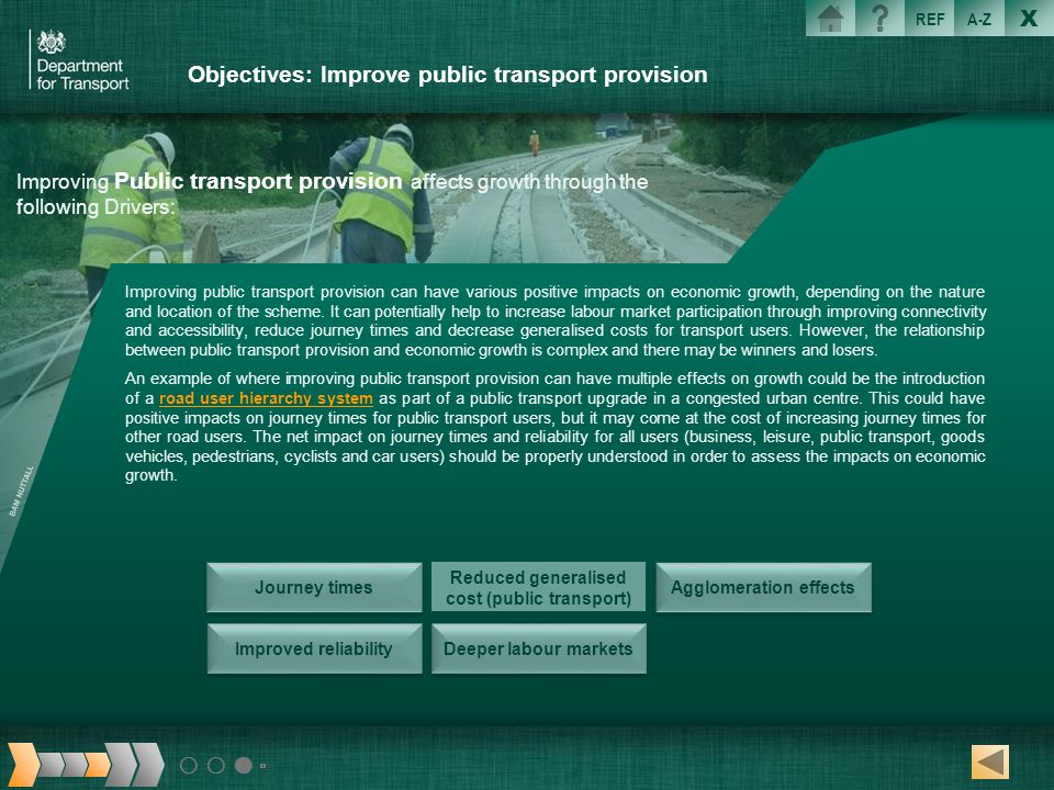 Objectives: Improve public transport provision