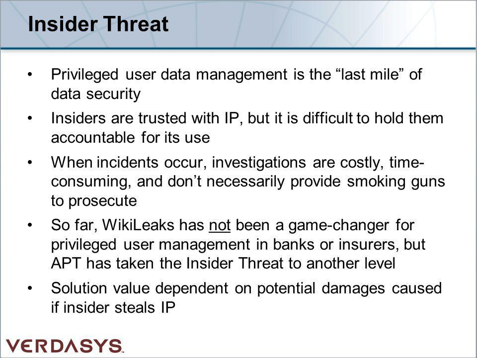 Insider Threat Privileged user data management is the last mile of data security.