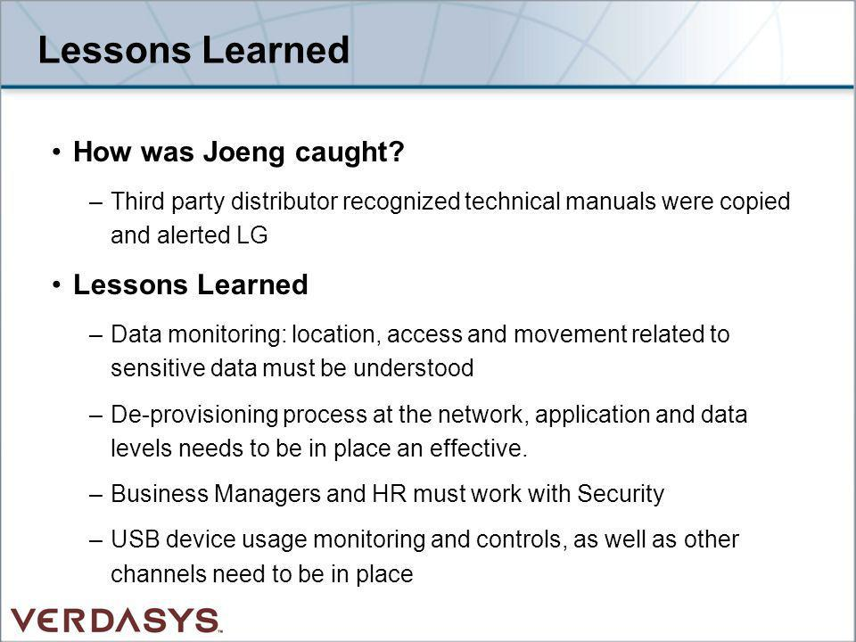 Lessons Learned How was Joeng caught Lessons Learned