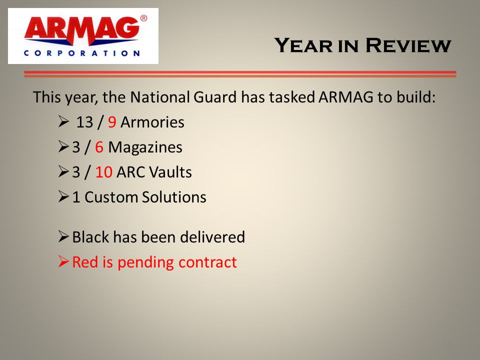 Year in Review This year, the National Guard has tasked ARMAG to build: 13 / 9 Armories. 3 / 6 Magazines.