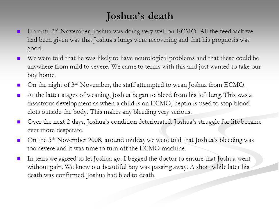 Joshua's death
