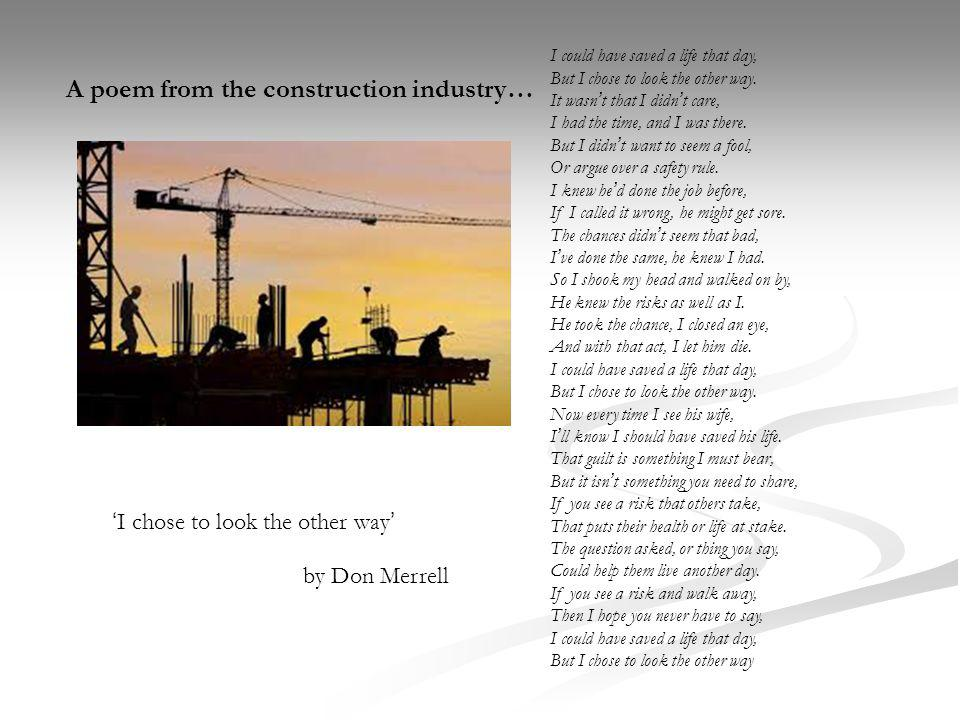 A poem from the construction industry…