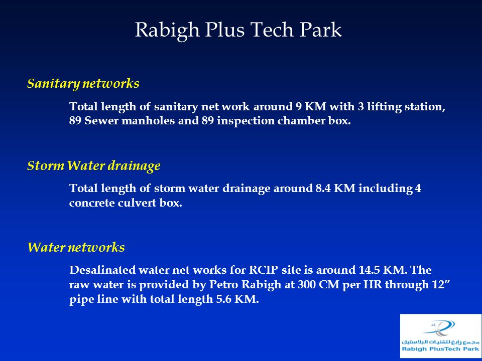 Rabigh Plus Tech Park Sanitary networks Storm Water drainage