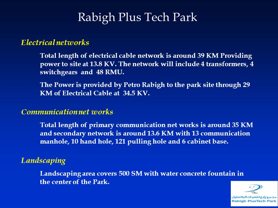 Rabigh Plus Tech Park Electrical networks Communication net works