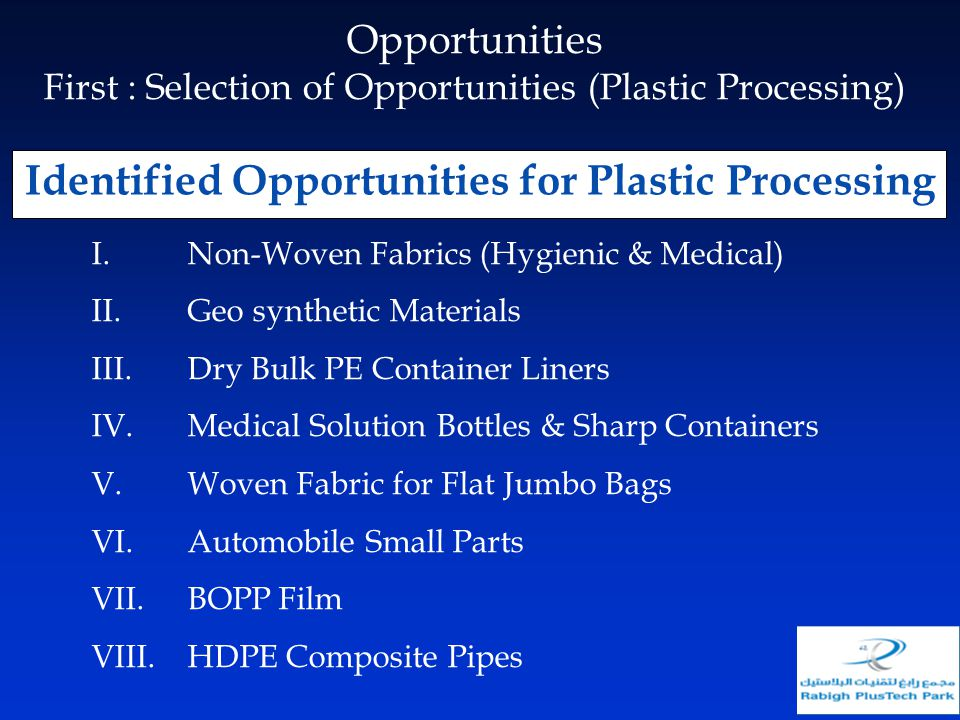 Identified Opportunities for Plastic Processing