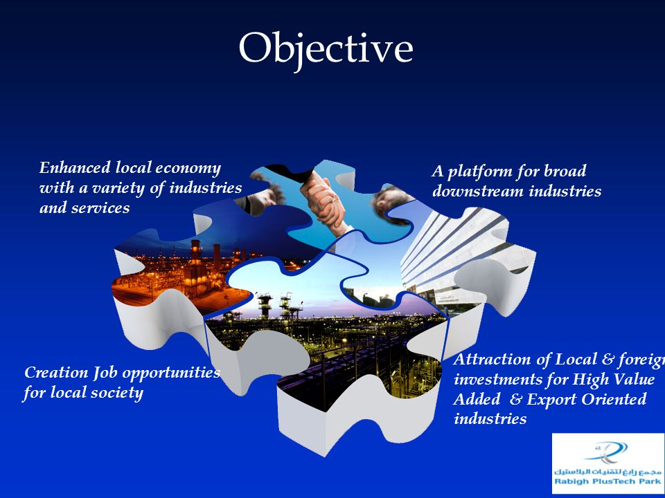Objective Enhanced local economy with a variety of industries and services. A platform for broad downstream industries.
