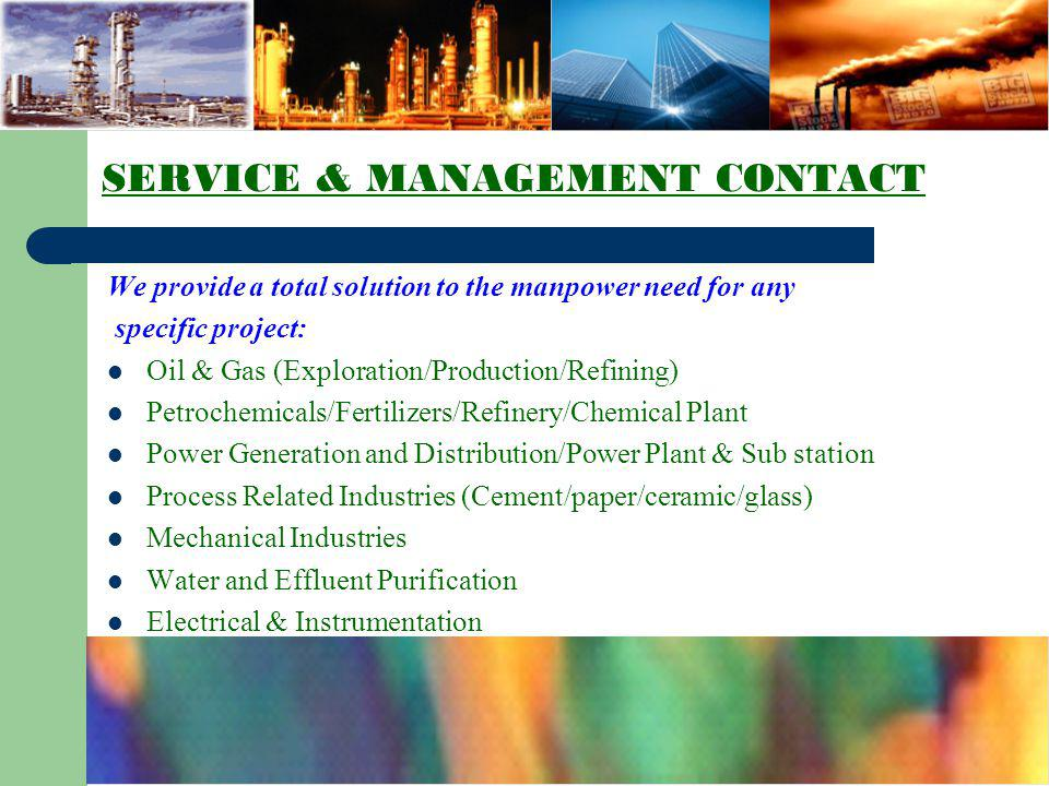 SERVICE & MANAGEMENT CONTACT