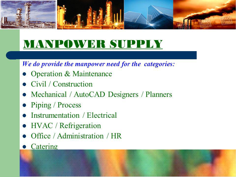 MANPOWER SUPPLY Operation & Maintenance Civil / Construction