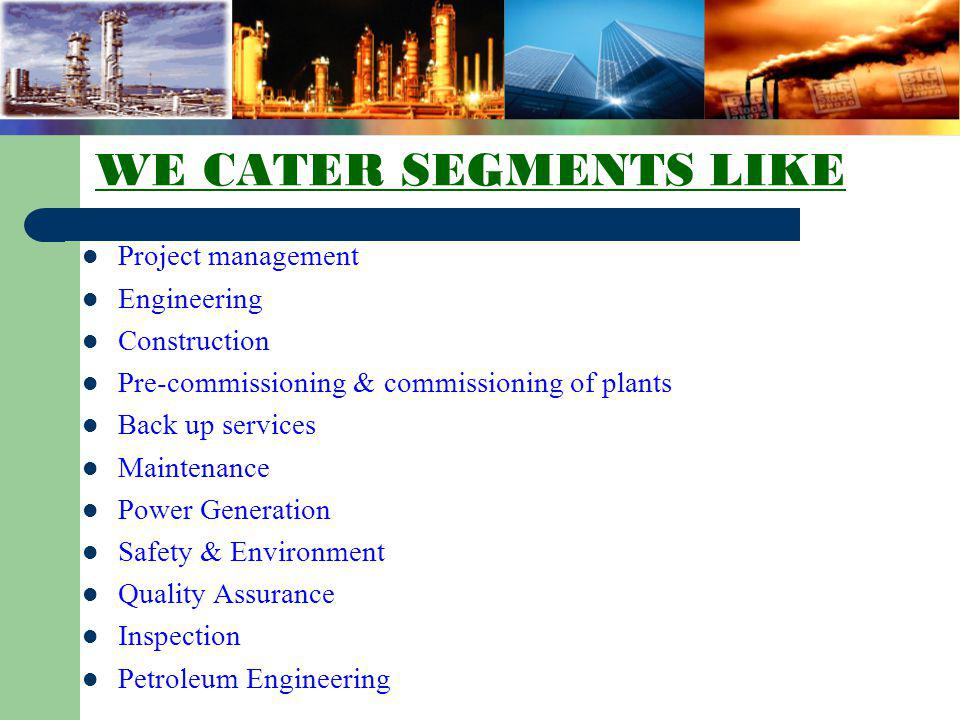 WE CATER SEGMENTS LIKE Project management Engineering Construction