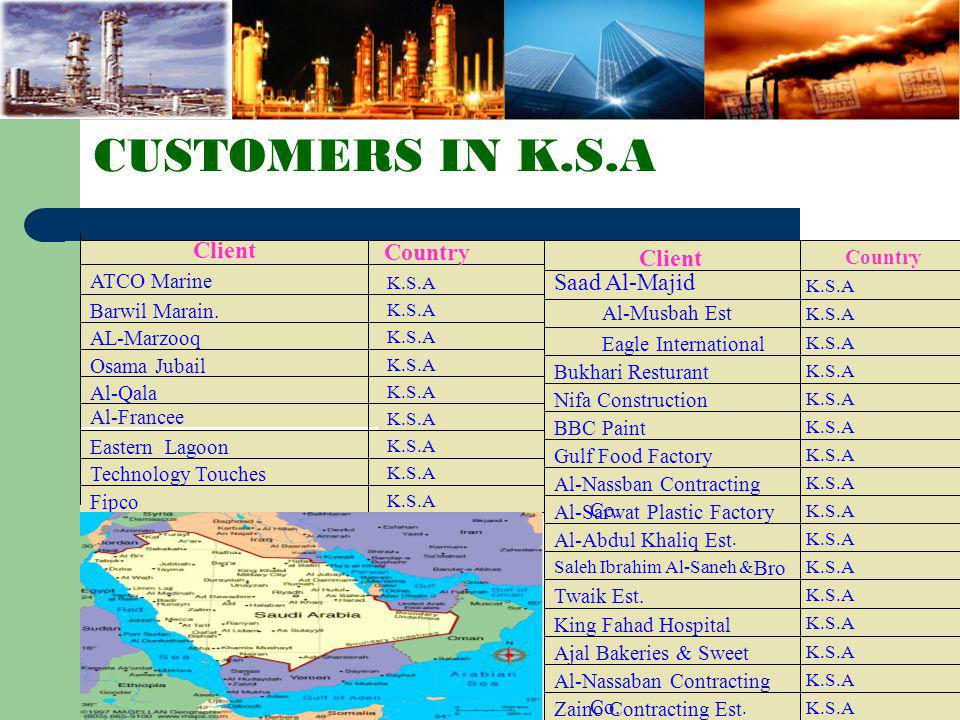 CUSTOMERS IN K.S.A Client Country Client Saad Al-Majid Country