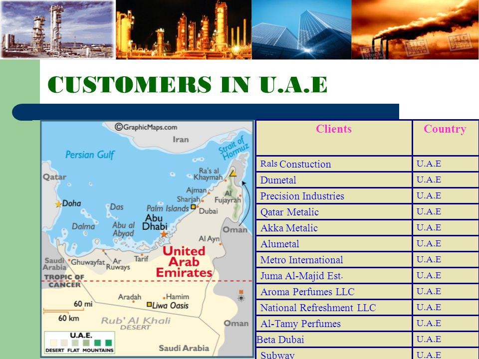 CUSTOMERS IN U.A.E Country Clients Dumetal Precision Industries
