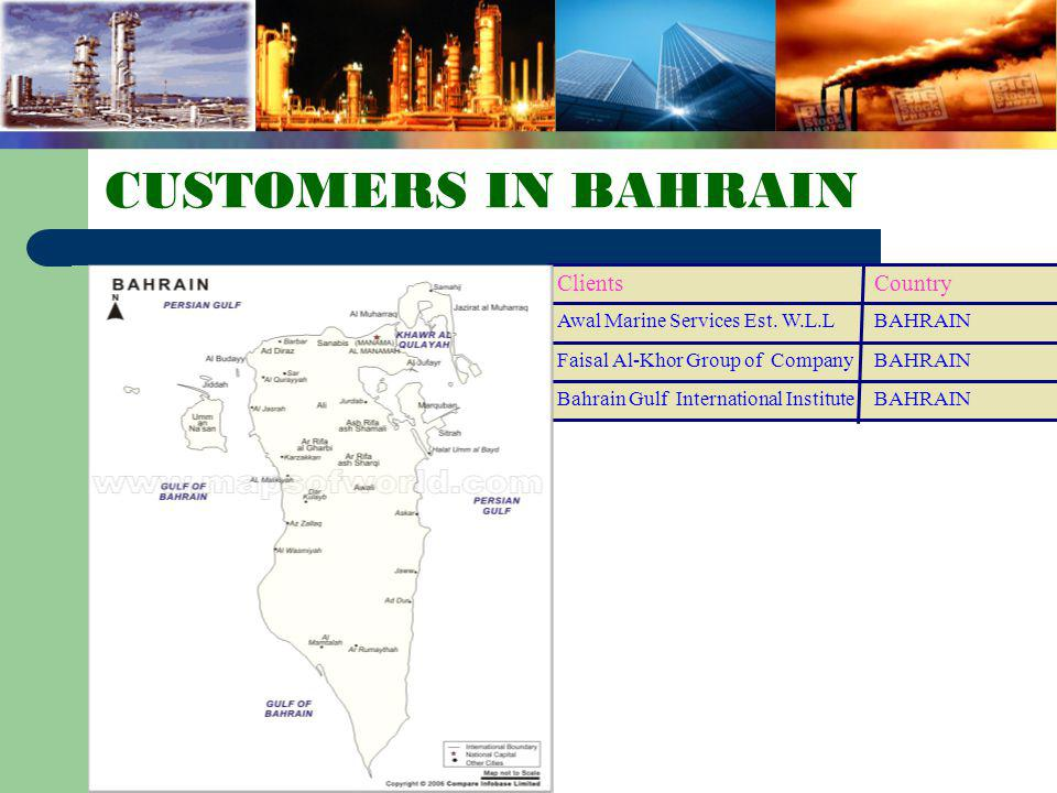 CUSTOMERS IN BAHRAIN Country Clients BAHRAIN