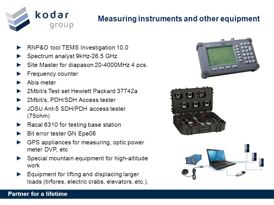 Measuring instruments and other equipment