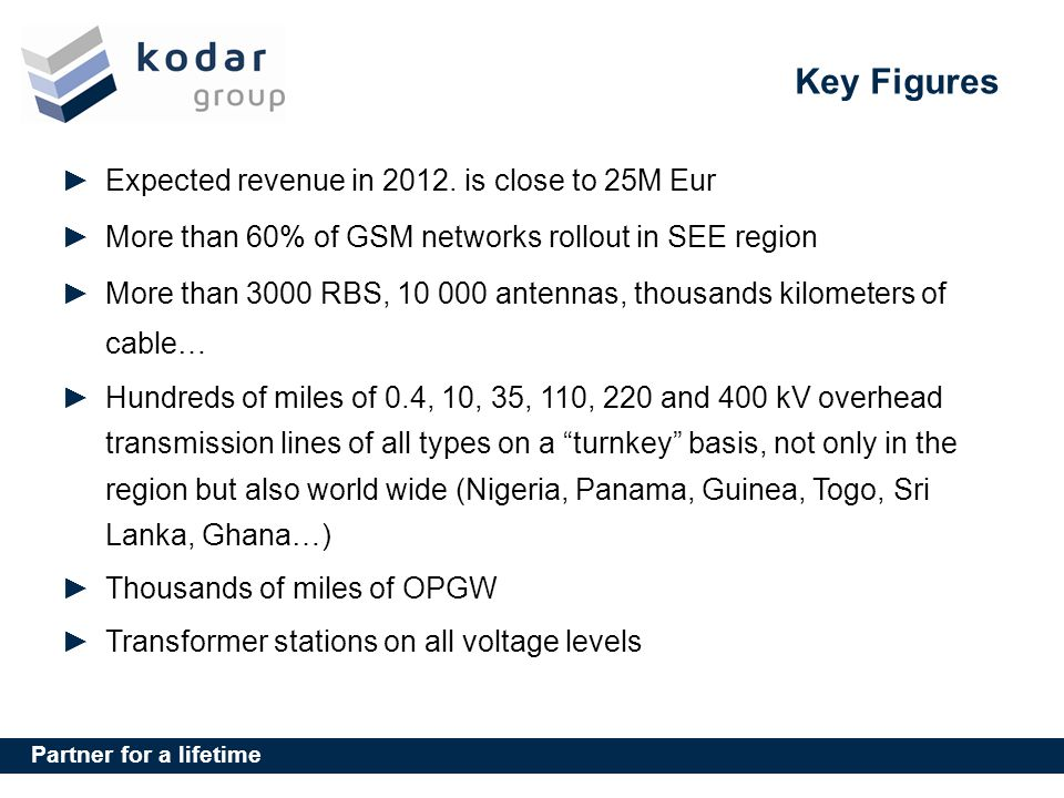 Key Figures Expected revenue in 2012. is close to 25M Eur