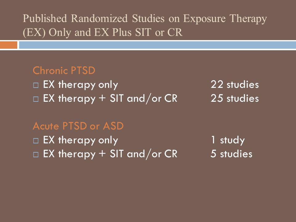 EX therapy only 22 studies EX therapy + SIT and/or CR 25 studies