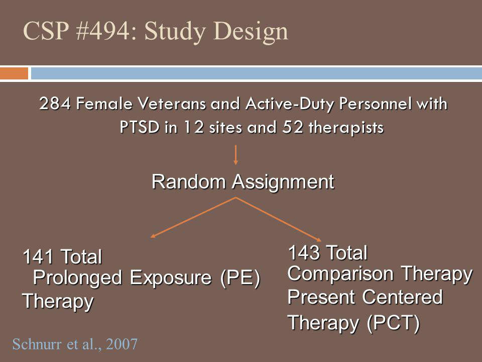 CSP #494: Study Design Random Assignment 143 Total 141 Total