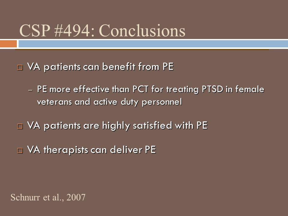 CSP #494: Conclusions VA patients can benefit from PE