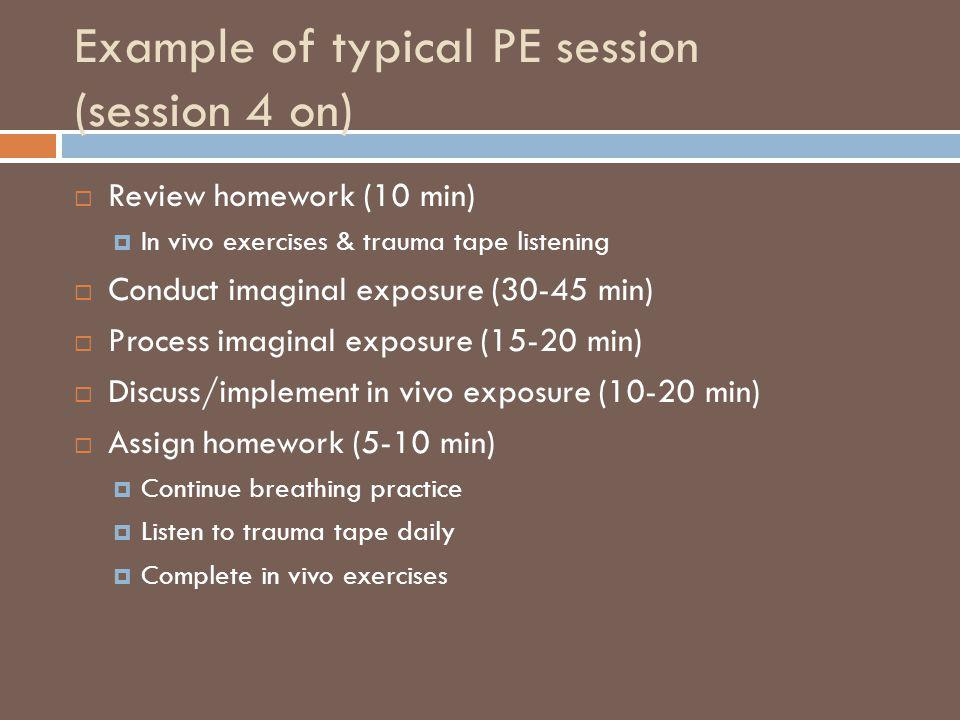 Example of typical PE session (session 4 on)