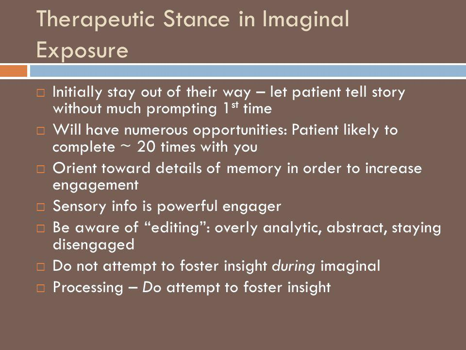 Therapeutic Stance in Imaginal Exposure