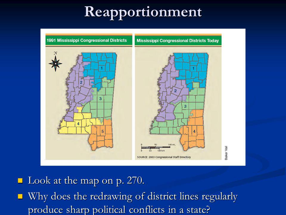 Reapportionment Look at the map on p. 270.