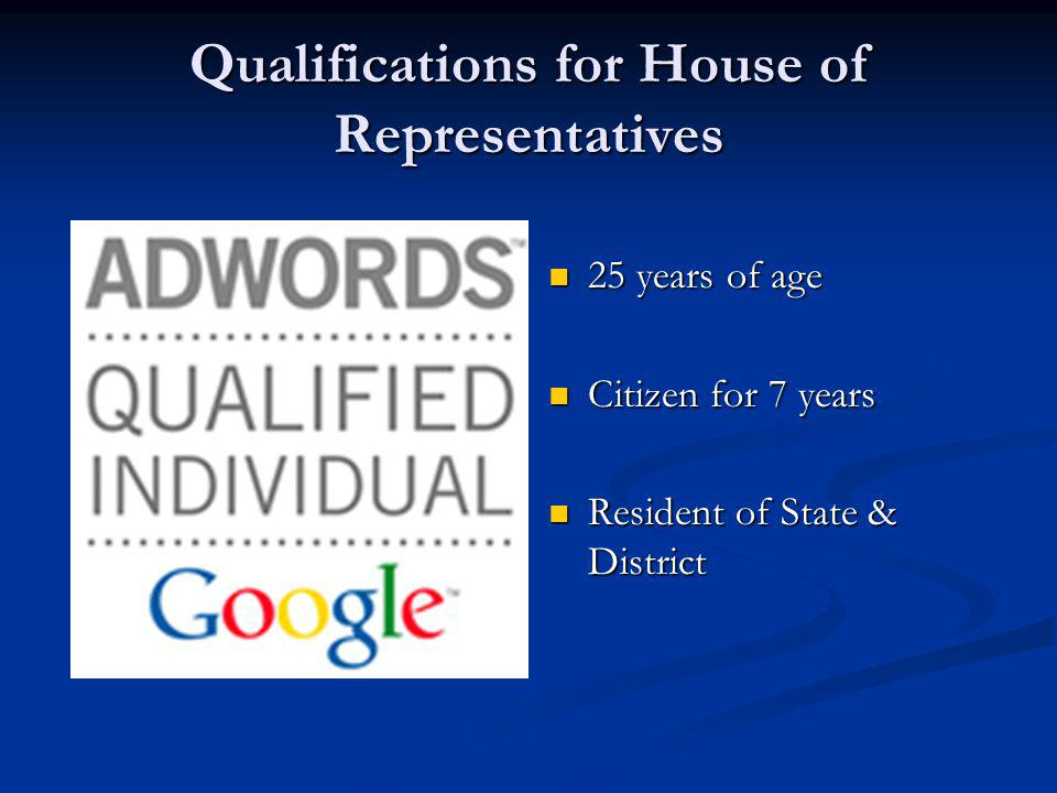 Qualifications for House of Representatives