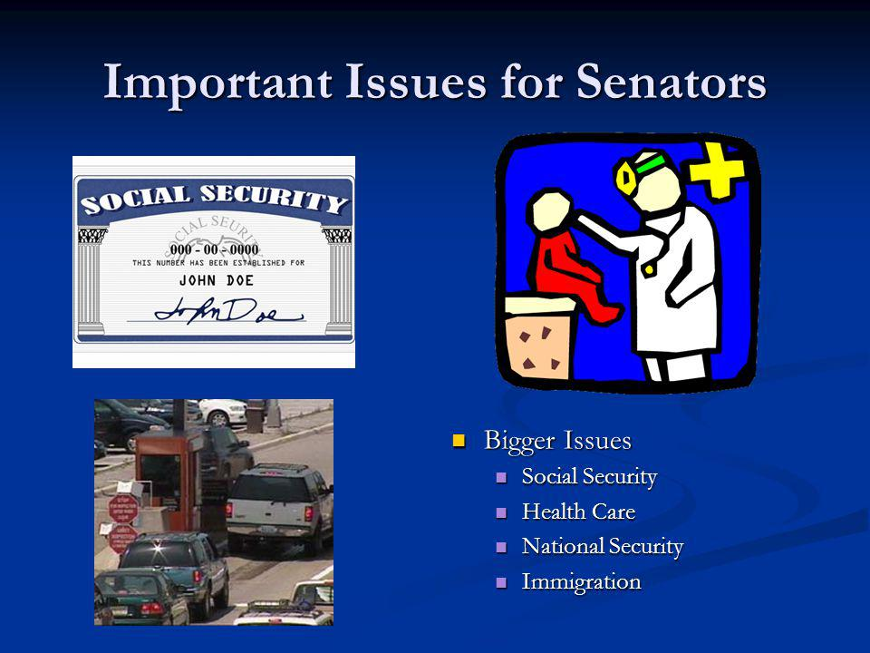 Important Issues for Senators