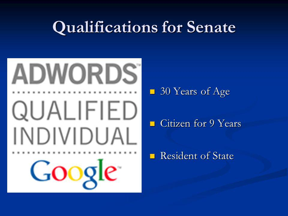 Qualifications for Senate