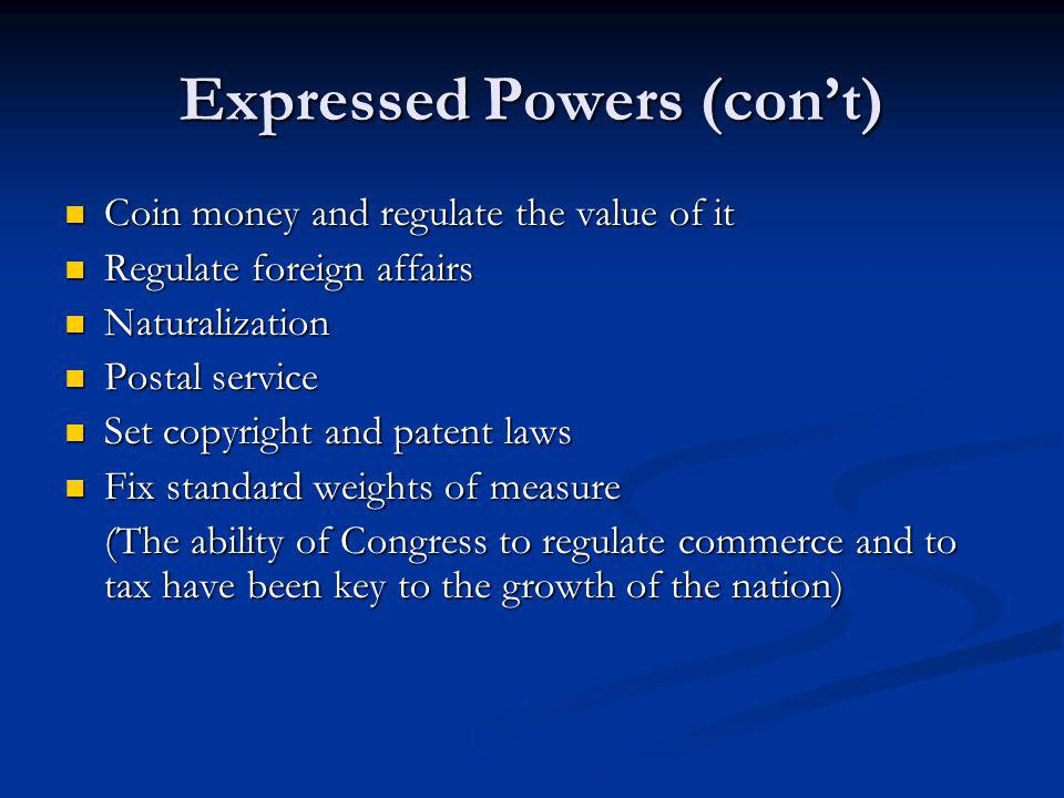 Expressed Powers (con't)
