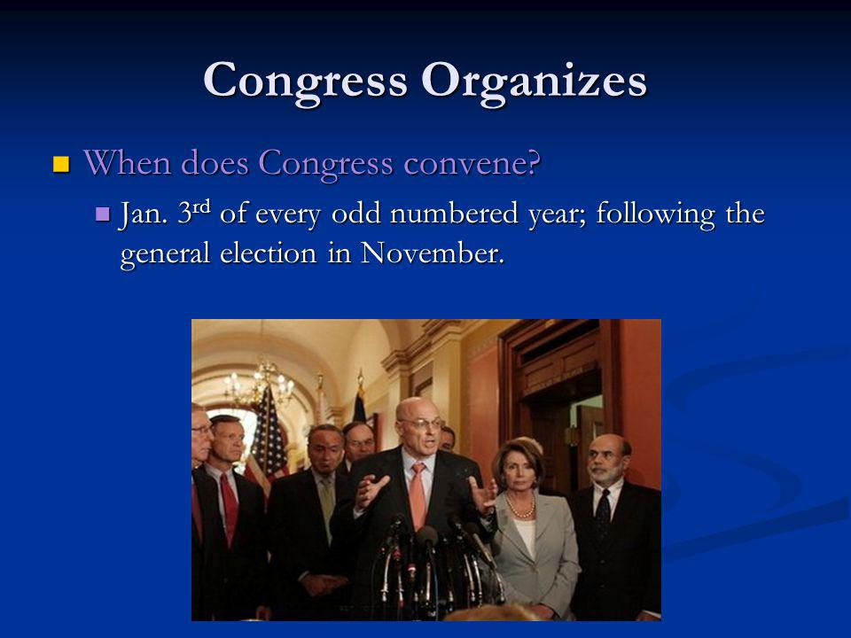 Congress Organizes When does Congress convene