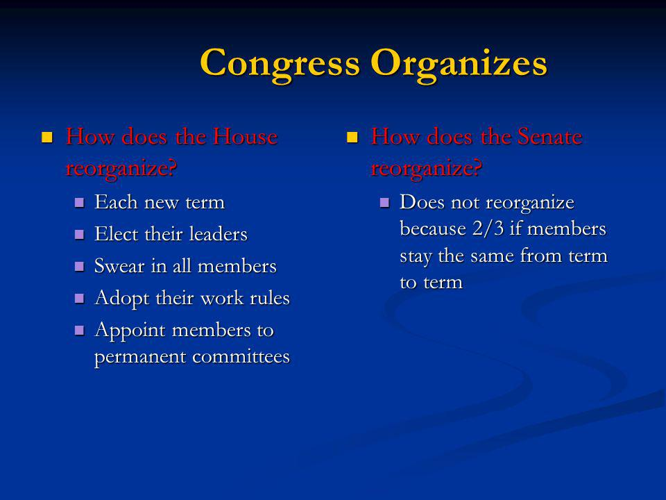 Congress Organizes How does the House reorganize