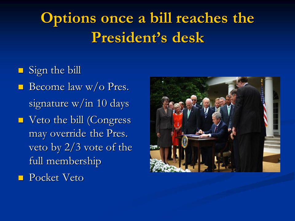 Options once a bill reaches the President's desk