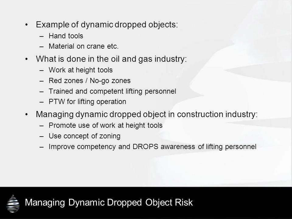 Managing Dynamic Dropped Object Risk