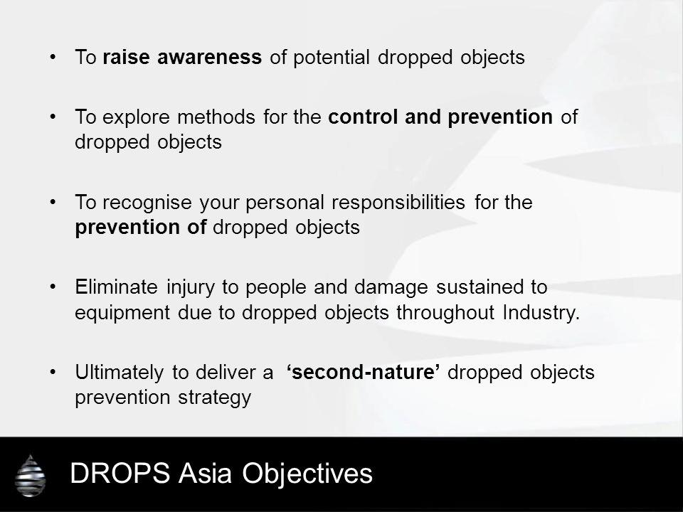 DROPS Asia Objectives To raise awareness of potential dropped objects