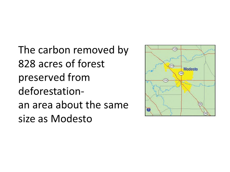The carbon removed by 828 acres of forest preserved from deforestation-