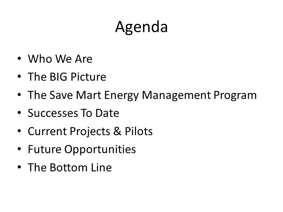 Agenda Who We Are The BIG Picture