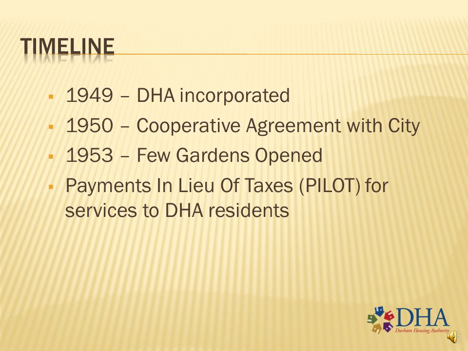 timeline 1949 – DHA incorporated