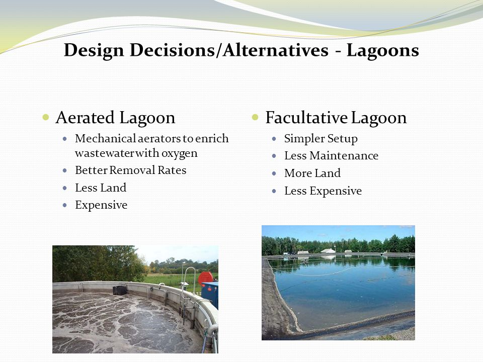 Facultative pond design wastewater lagoons an aging for Design of oxidation pond ppt