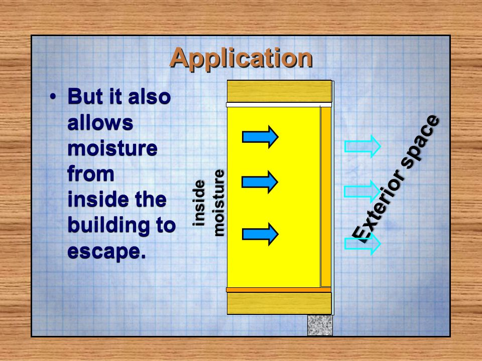 Application But it also allows moisture from inside the building to escape. Exterior space. moisture.